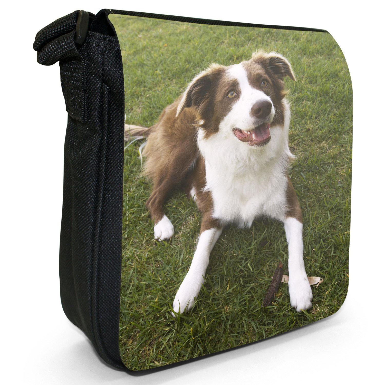 Border Collie Dog Brown & White Small Black Canvas Shoulder Bag / Handbag