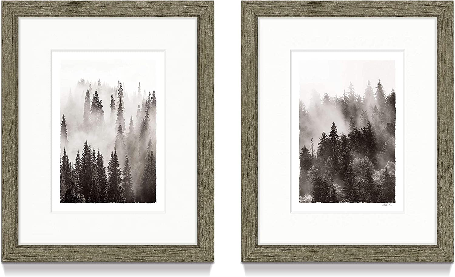 Framed Foggy Forest Wall Art - Misty Pine Tree in Scenic Landscape Pictures Prints Decor for Living Room ( 8'' x 10'' x 2 Panels )