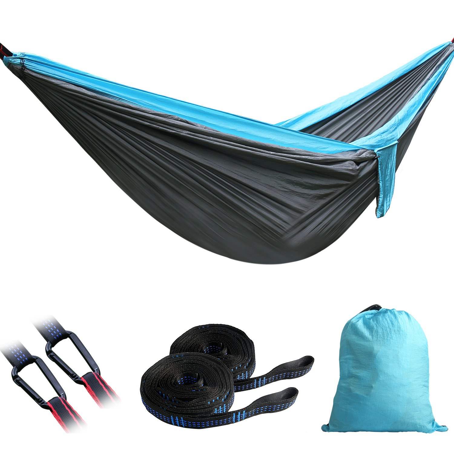 Camping Hammocks Garden Hammock Ultralight Portable Nylon Parachute Multifunctional Lightweight Hammocks with 2 x Hanging Straps for Backpacking, Travel, Beach, Yard - 118L x 78W Inches (holds 600lbs)