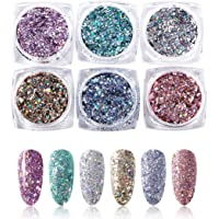 6 Boxes Hexagon Nail Glitter Sequins Powder Dust Iridescent Flakes Holographic Laser Paillette Ultra-thin Tips Mix Colors For Cosmetic Nail Art Decoration, HJ-ND101