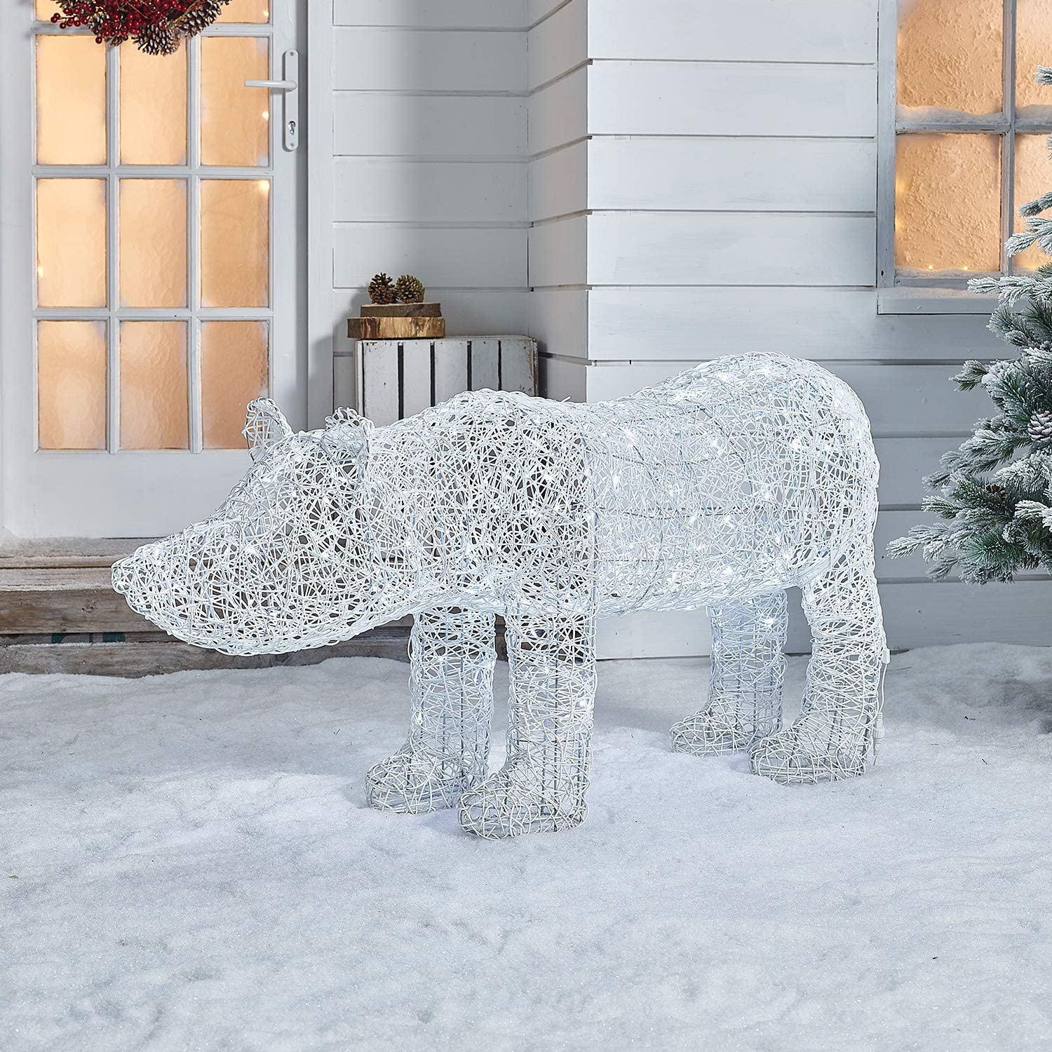 Xmas White with 120 Multi-Functional Timed Warm White Energy Efficient LED Lights 120cm Battery or Mains Operated Outdoor PVC Rattan Polar Bear Christmas Figure The Winter Workshop