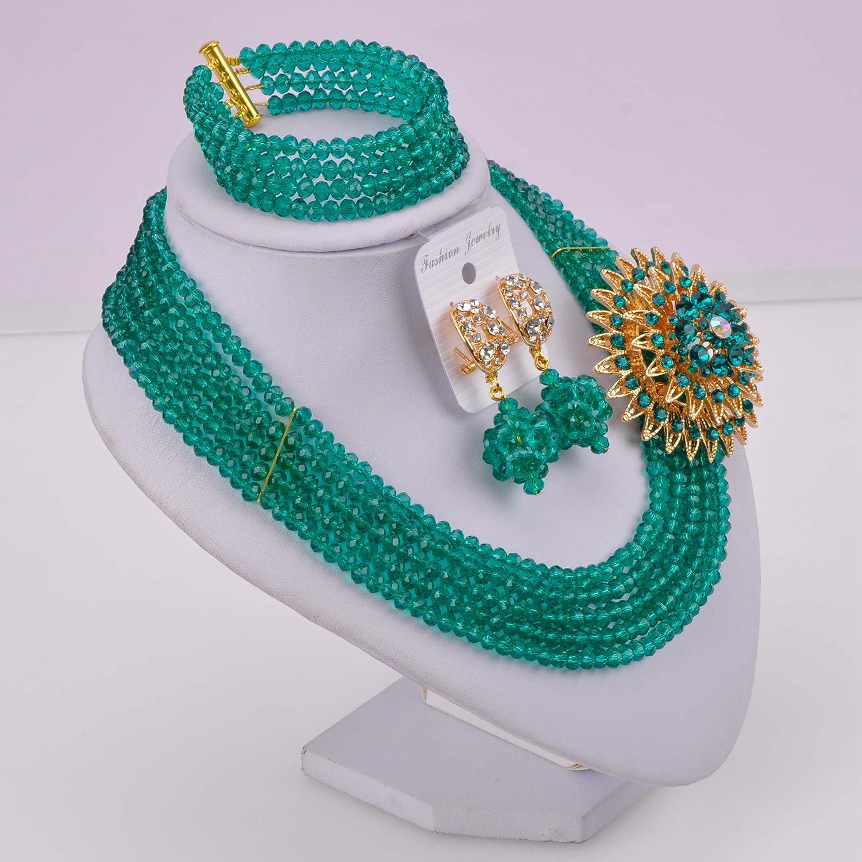 laanc 5 Rows Fashion Lady Jewellery Multicolor Crystal Nigerian Bridel Wedding African Bead Jewelry Sets