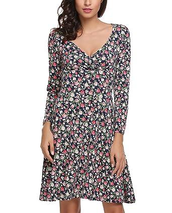 fd6ef853c07f1f Zeagoo Damen Elegant Blumen Jerseykleid Wickelkleid Vintage Kleid  V-Ausschnitt Langarm skaterkleid Partykleider Knielang Blau
