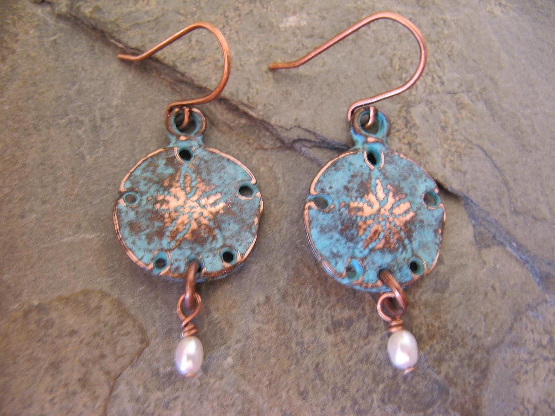 cef74b3e59f17 Aqua Patina Rustic Sand Dollar Cultured Pearl Copper Earrings Boho Artisan  Jewelry