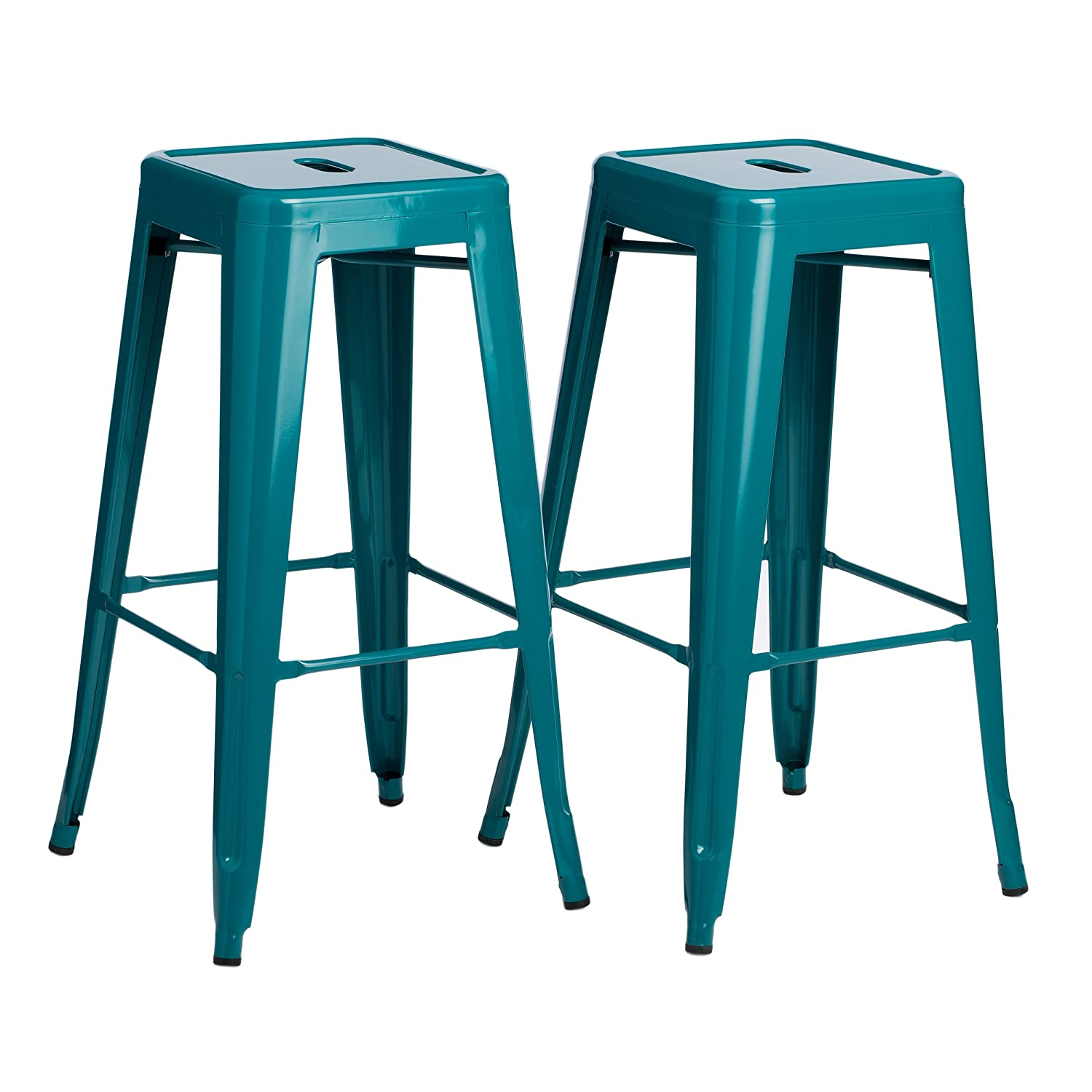 Amazon.com: ModHaus Set Of 2 Turquoise French Bistro Tolix Style Metal Bar  Stools In Glossy Powder Coated Finish Includes ModHaus Living (TM) Pen:  Kitchen U0026 ...