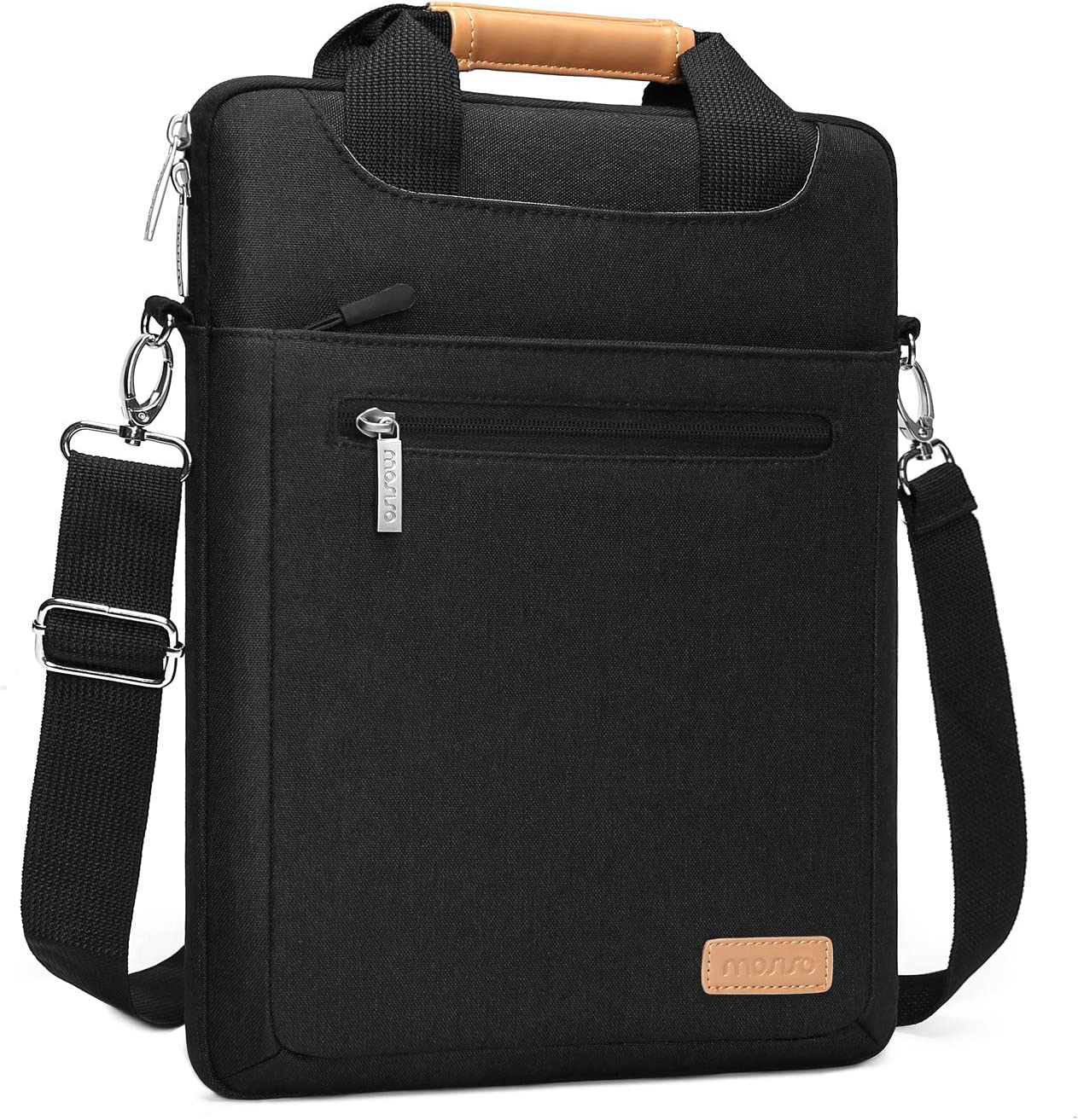 MOSISO Vertical Laptop Shoulder Bag Compatible with MacBook Pro/Air 13, 13-13.3 inch Dell HP Acer Surface Notebook Computer, Polyester Messenger Sleeve Handbag with Zipper Pockets&Trolley Belt, Black