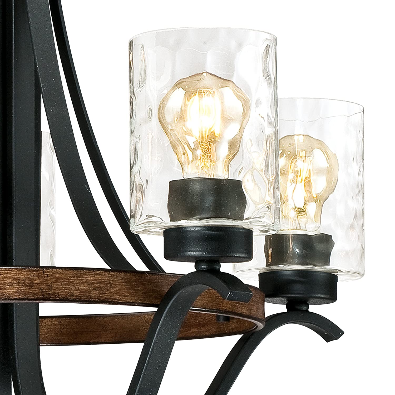 Textured Iron and Barnwood Finish with Clear Hammered Glass 5 Westinghouse Lighting 6331900 Barnwell Five-Light Indoor Chandelier