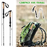 KESHES Trifold Trekking Poles Walking Sticks - 2-pc Lightweight Aluminum 7075 Collapsible & Adjustable Quick flip Lock Hiking Poles - eva Cork Grip Padded Strap - All Terrain Tips Carry Bag Included