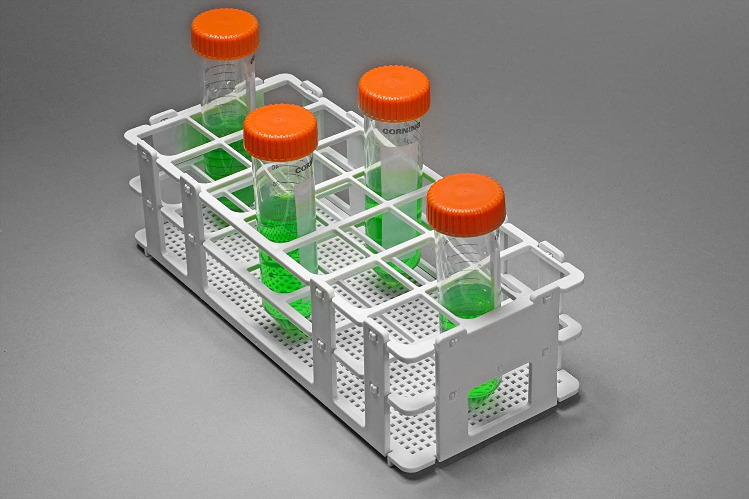 21 Places White Bel-Art F18745-0004 No-Wire Test Tube Rack; 25-30mm Polypropylene 9.7 x 4.1 x 2.5 in