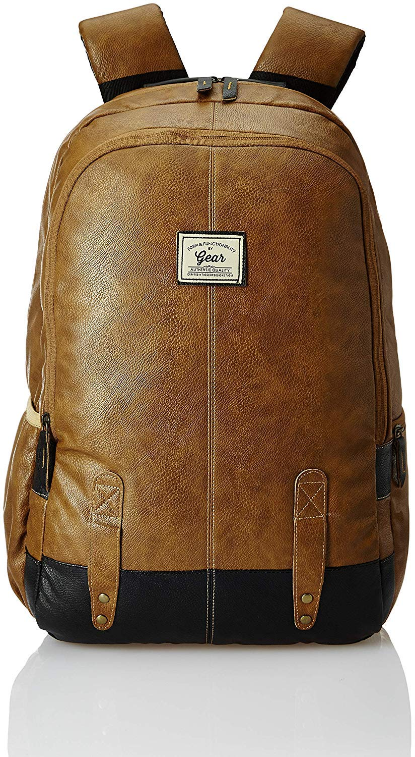 GEAR Classic Anti Theft Faux Leather 20 Ltrs Tan Laptop