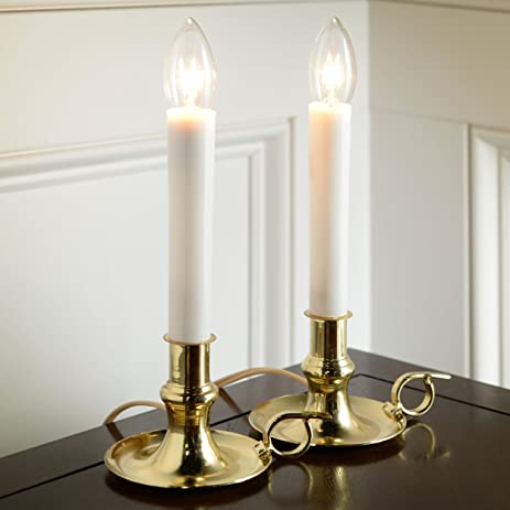 Amazon.com: Darice Chamber Electric Candle Lamp with Brass Base ...