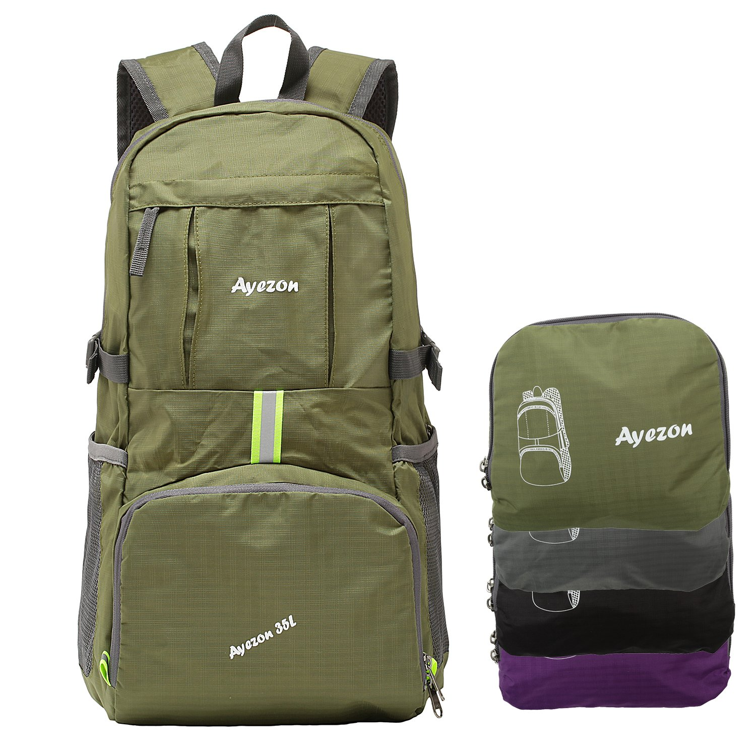 Ayezon Ultra Lightweight Packable Backpack Water Resistant Hiking Daypack, Foldable Travel Outdoor Backpack Green 35L
