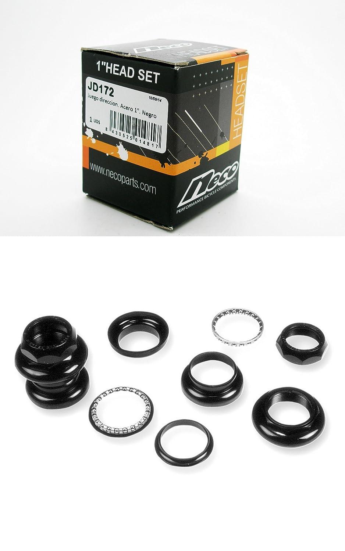 Juego de Direccion de Bolas NECO Potencia de 1 de Bicicleta Acero Negro 3161