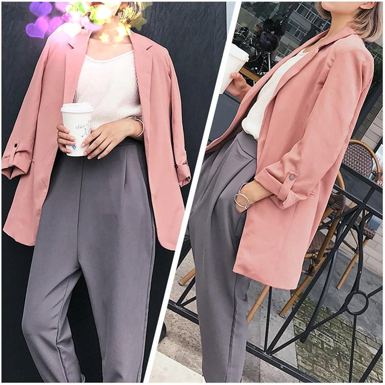 Lokouo Pink Autumn Long Blazer Women Fall Blazer Jacket Top Three Quarter Sleeve Long Outwear Woman