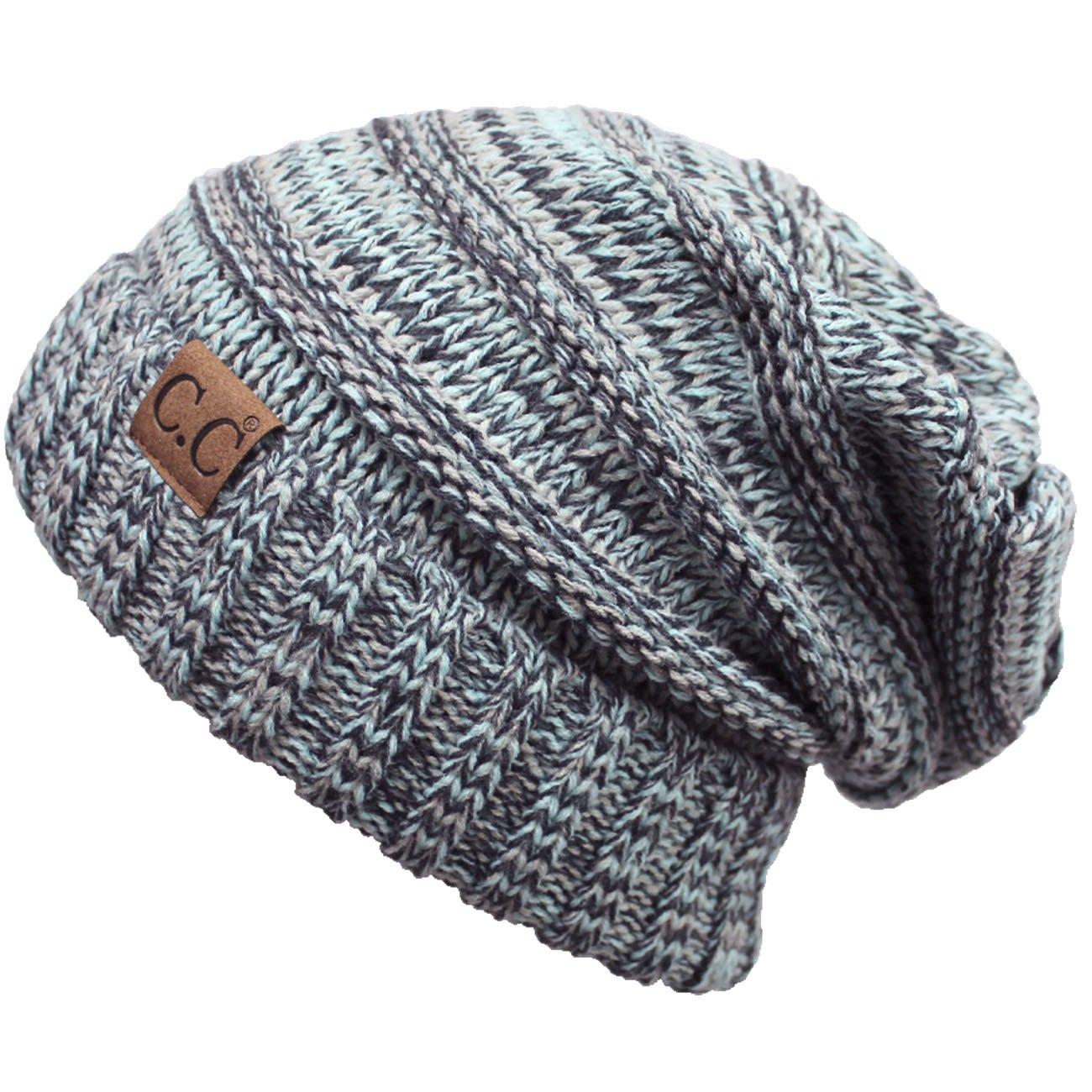 ScarvesMe Slouchy Two-Tone CC Knit Beanie (Mint)