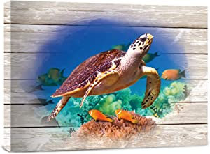Bathroom Canvas wall Art,Turtle wall Decor, Giclee antique painting, ocean beach canvas print, living room bedroom office photo framed artwork poster 16 X 12 inch