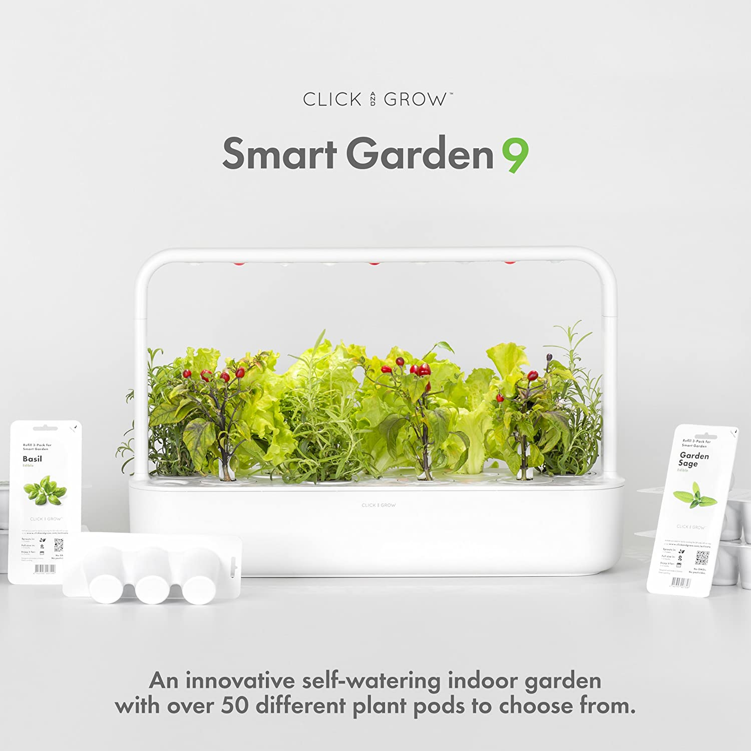 Awesome Amazon.com : Click U0026 Grow Smart Garden 9 Indoor Gardening Kit (Includes  Plant Capsules), White : Garden U0026 Outdoor