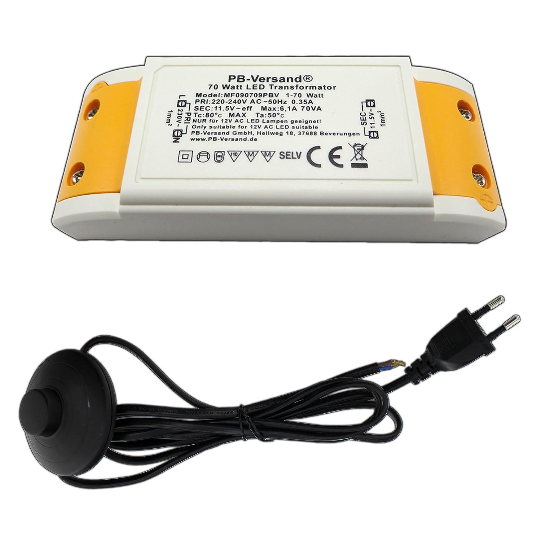 LED Trafo 1-70 Watt 12V~ AC (klein und kampakt) - Transformator - Hochleistungstrafo fü r G4, GU4, GU5.3, MR16, MR11 Leuchtmittel Spots und mehr PB-Versand®