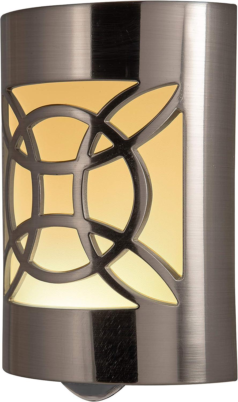 GE CoverLite LED Night Light Celtic Design, Plug-In, Dusk to Dawn Sensor, Home Décor, for Elderly, Ideal for Bedroom, Bathroom, Nursery, Kitchen, Hallway, Brushed Nickel, 11358, 1 Pack,