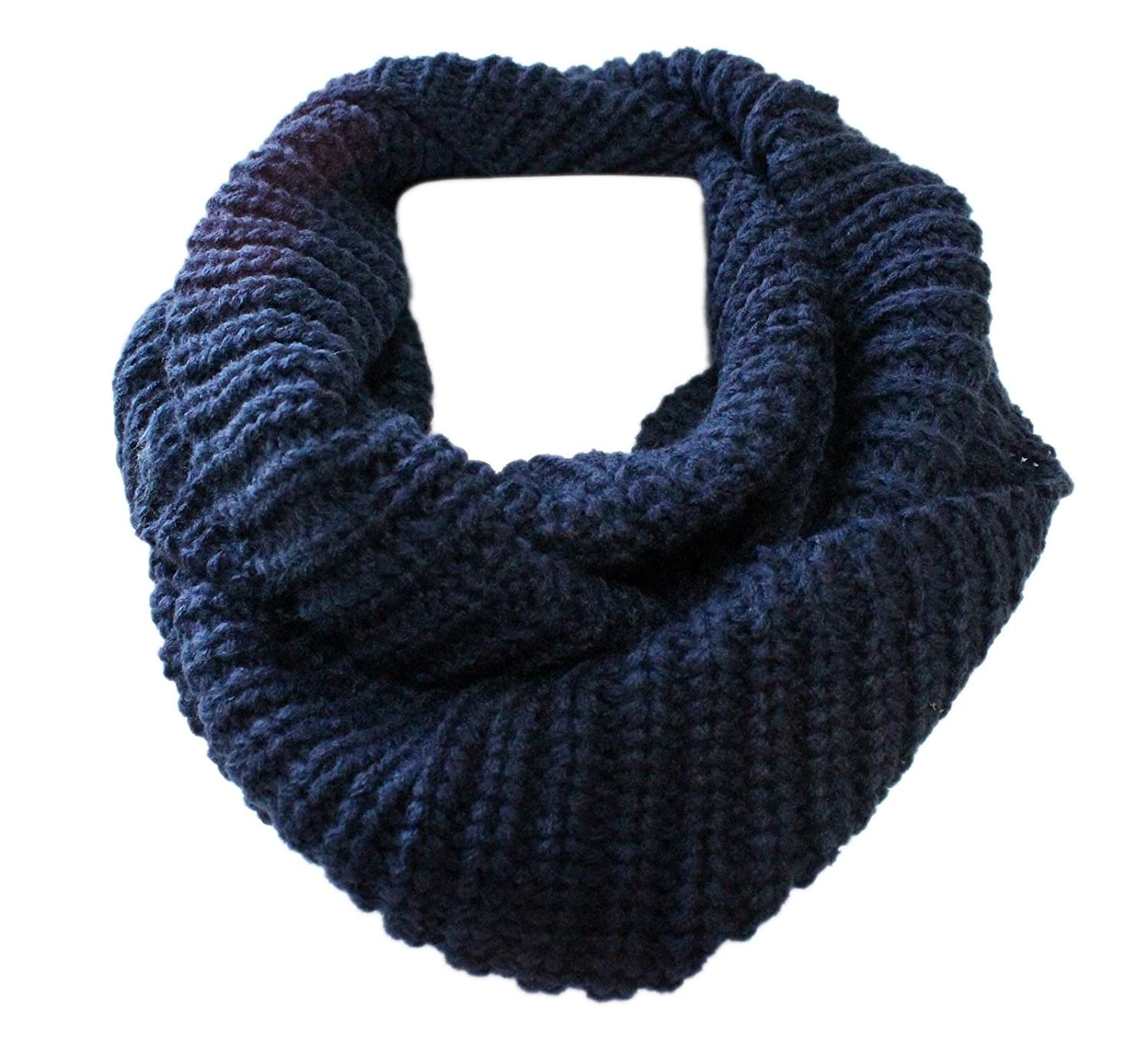 Boys Girls Winter Chunky Loop Scarf Neck Warmer Age 5 to 12 Navy Blue
