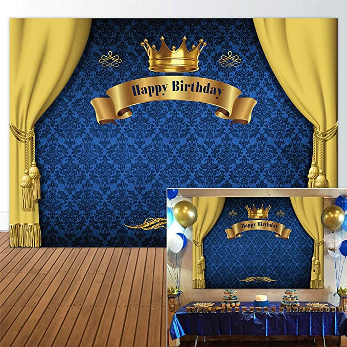 f18ff08a897 Amazon.com : Allenjoy 7x5ft Royal Prince Backdrop King Gold Curtain  Background Baby Shower Happy Birthday Party Cake Dessert Table Decor  Decoation Banner ...