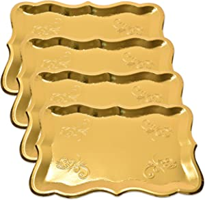 "10 Gold Rectangle Trays for Dessert Table Serving Parties 9"" x 13"" Heavy Duty Disposable Paper Cardboard in Elegant Shape for Platters, Cupcake, Birthday Parties, Dessert, Weddings and More Food Safe"