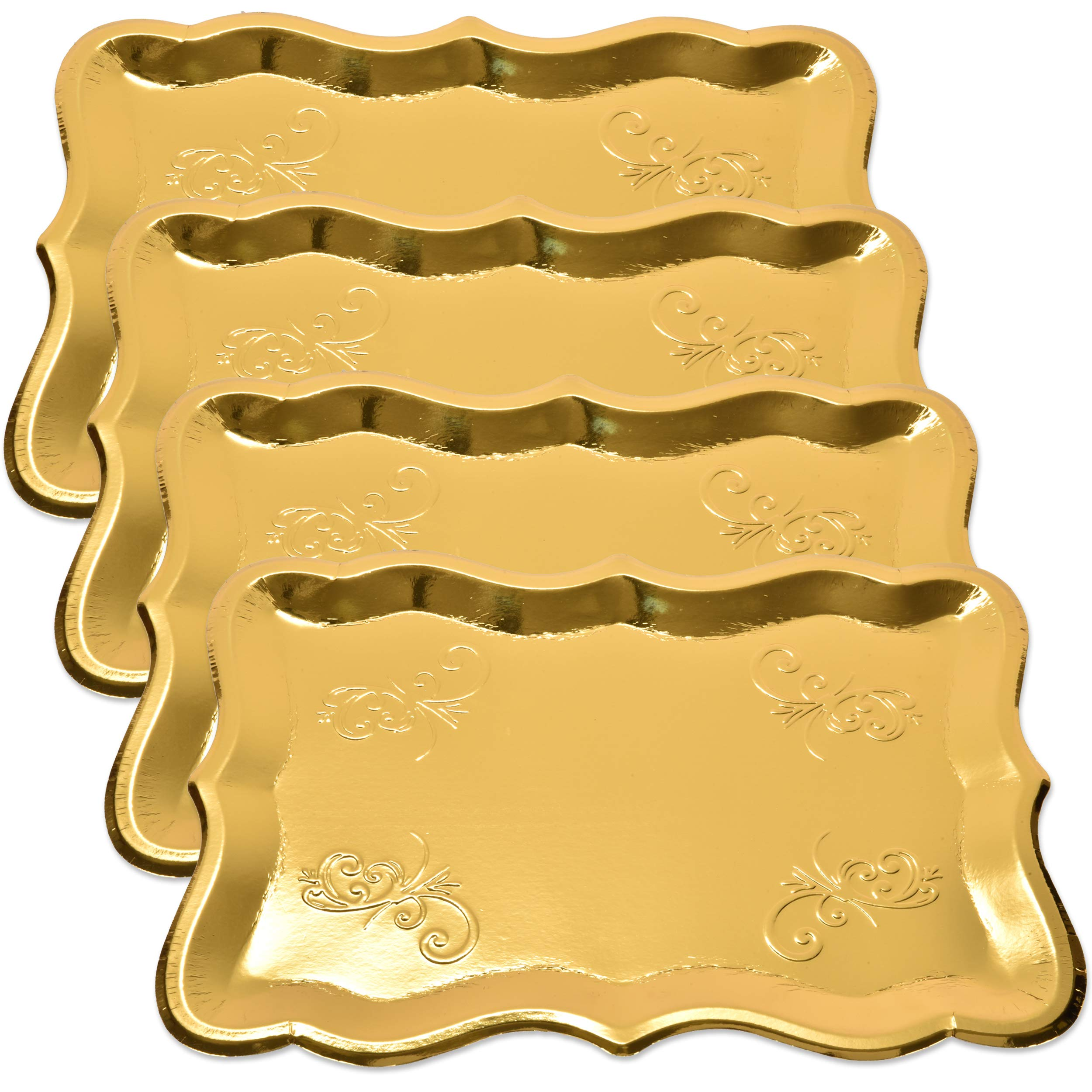10 Gold Rectangle Trays for Dessert Table Serving Parties 9'' x 13'' Heavy Duty Disposable Paper Cardboard in Elegant Shape for Platters, Cupcake, Birthday Parties, Dessert, Weddings and More Food Safe by Gift Boutique