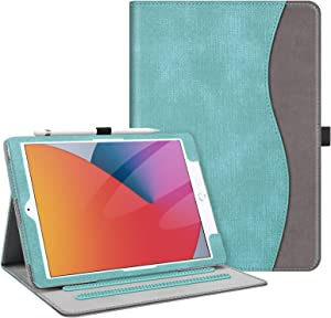 Fintie Case for New iPad 8th Gen (2020) / 7th Generation (2019) 10.2 Inch - [Corner Protection] Multi-Angle Viewing Folio Stand Cover with Pocket, Pencil Holder, Auto Wake/Sleep, Turquoise