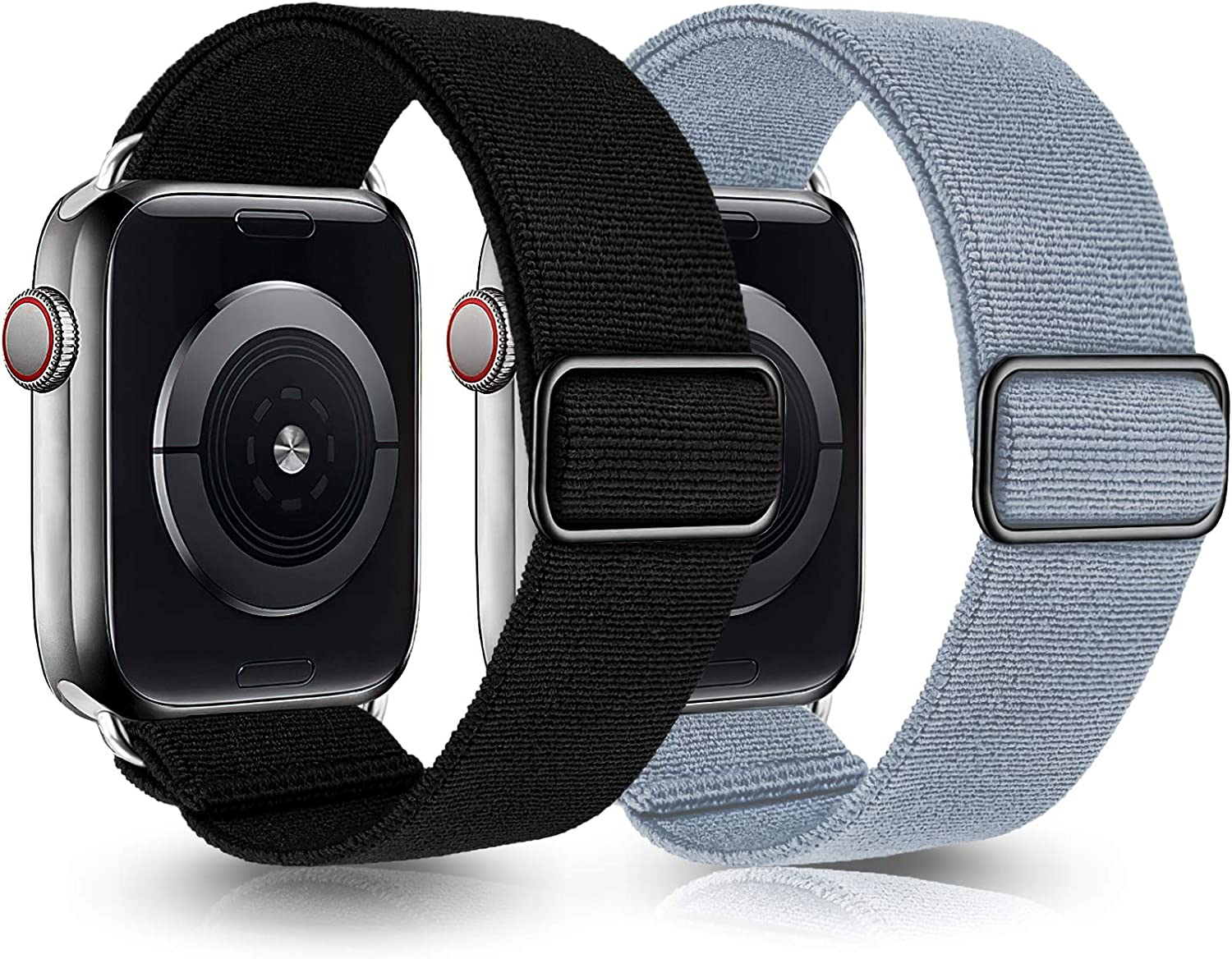 Greatfine Stretchy Solo Loop Strap Compatible with Apple Watch Bands 38mm 40mm,Elastic Nylon Braided Band&Adjustable Buckle Women Men Sport Watch Bands for iWatch Series 6/5/4/3/2/1 SE(Black+Fog Blue)