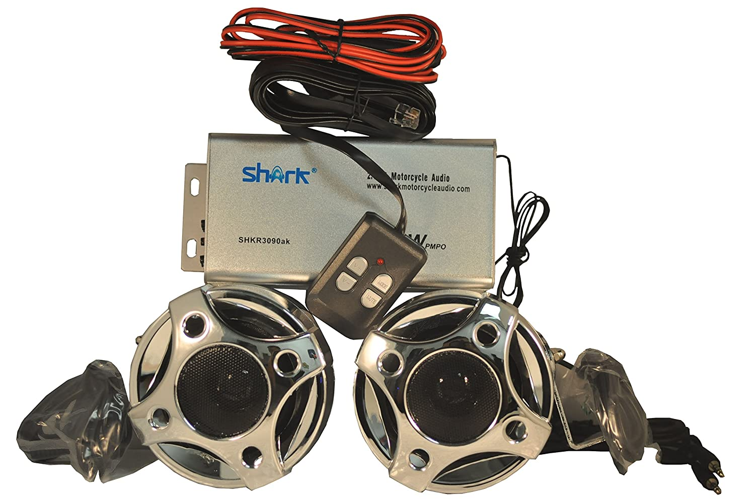 "Amazon.com: Shark SHKMRC3090DBC 250w Motorcycle/Snowmobile Audio System  with 3"" Speakers (Chrome): Computers & Accessories"