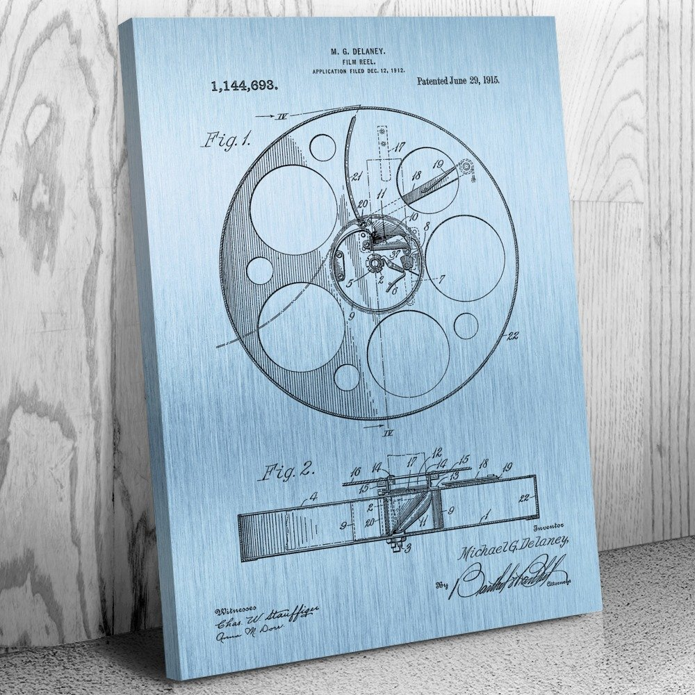 Amazon.com: Movie Film Reel Canvas Patent Art Print Blue Steel (16 ...