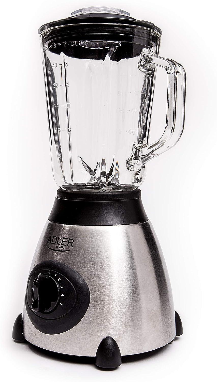 Adler AD4070 Batidora de Vaso 600W, 1,5 litros, 6 Velocidades, Libre de BPA, Función Pulso, Cristal, Talla única