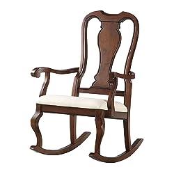 Acme Furniture ACME Sheim Beige Fabric and Cherry Rocking Chair