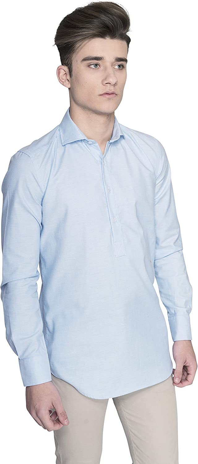 Oxford Mount Albano Pretty Blue - Camisa Polera de Hombre Manga Larga Oxford Color Azul Bonito: Amazon.es: Ropa y accesorios