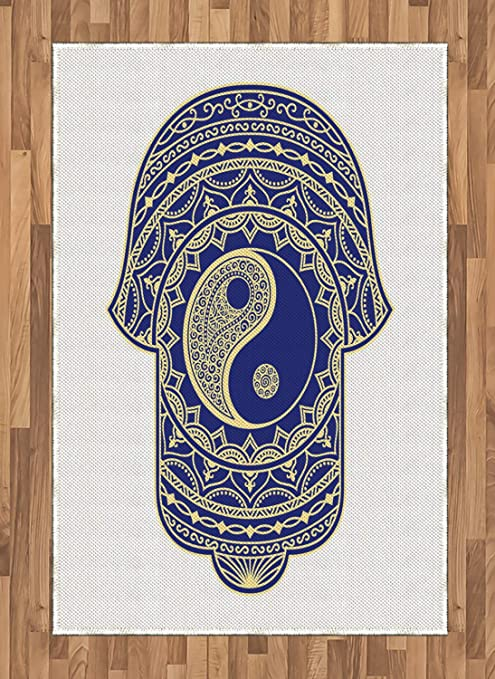 ABAKUHAUS Hamsa Alfombra de Área, Japonés Ying Yang Zen, Material ...