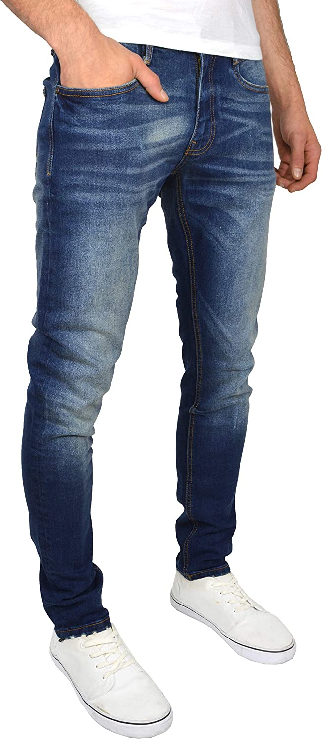 Duck and Cover Mens Tranfold Faded Abraised Stretch Slim Fit Jeans