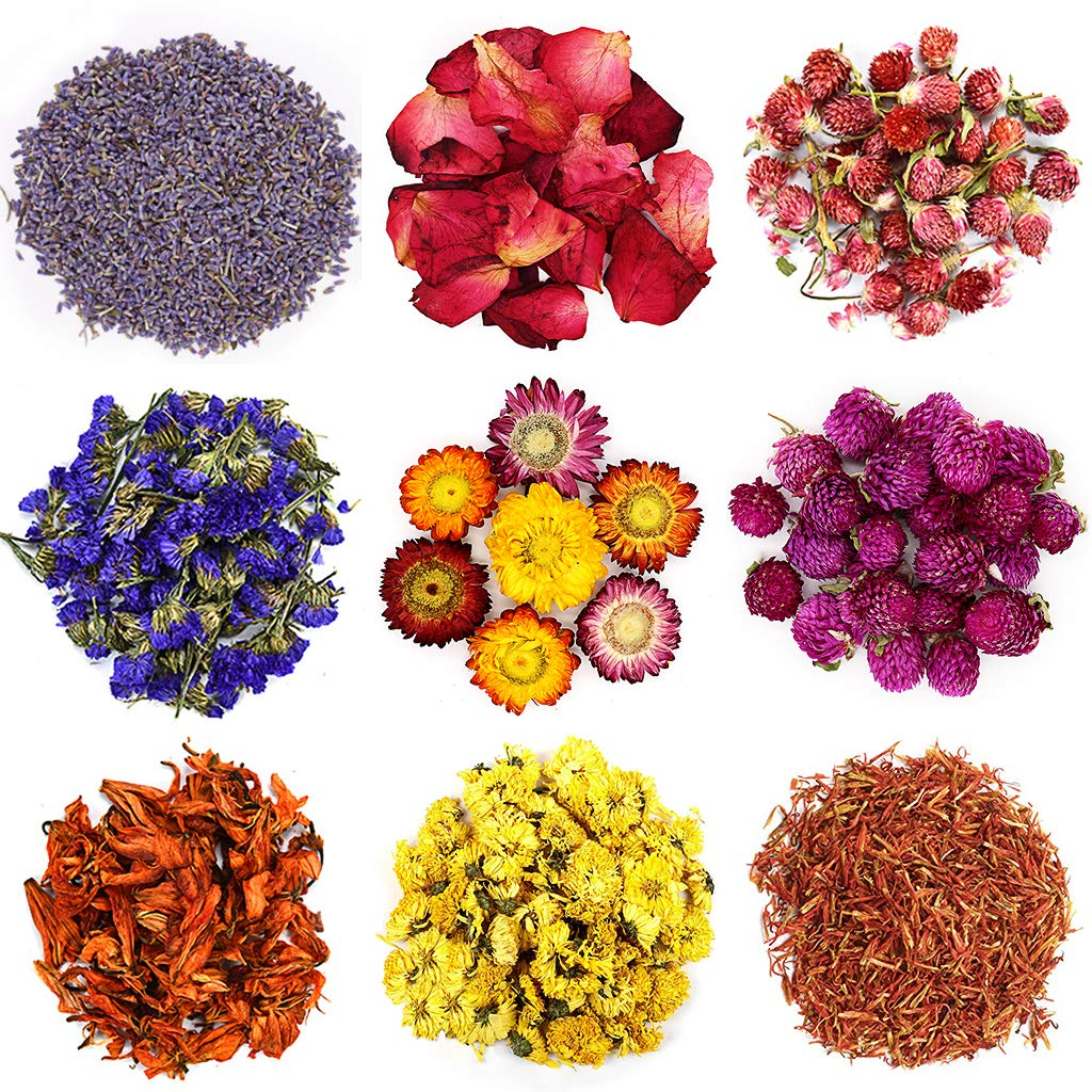 TAEERY Dried Flowers for Soap Making Scents Kits,DIY Soap/Candle Making Supplies Set- Include Dried Lavender, Rose Petals, Lily Flower,Colorful Chrysanthemum, Forget-me-not and More