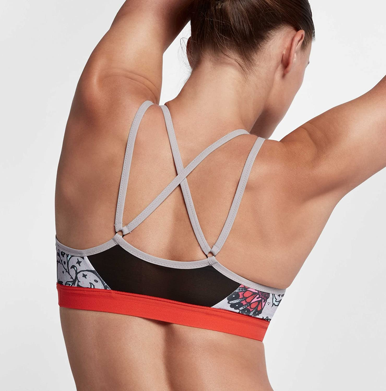 f01afad2a3d0e Nike Women s Tattoo Floral Indy Strappy Sports Bra (Cool Grey Black ...