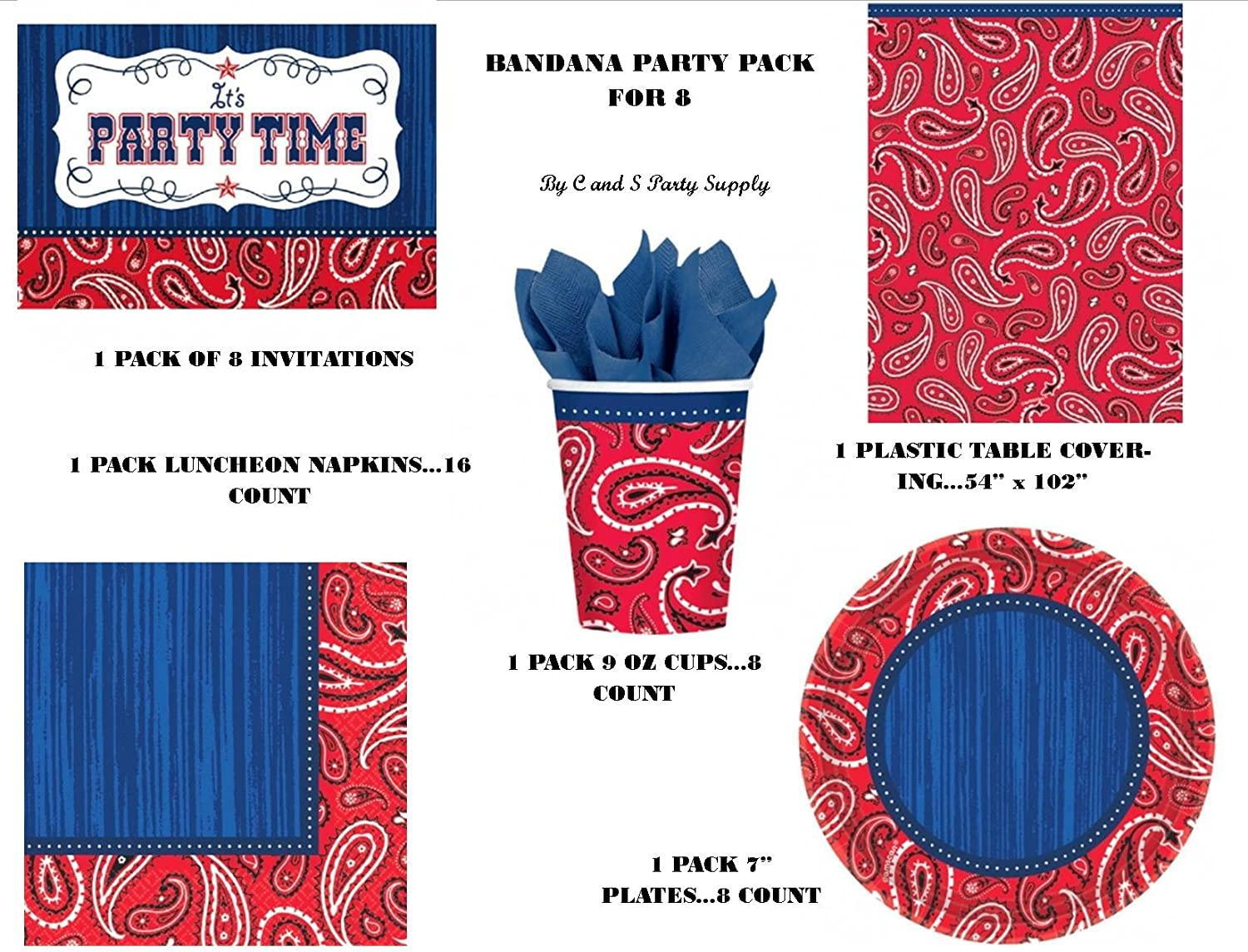 Blue Bandana Cowboy Western Theme Birthday Party Paper Luncheon Napkins