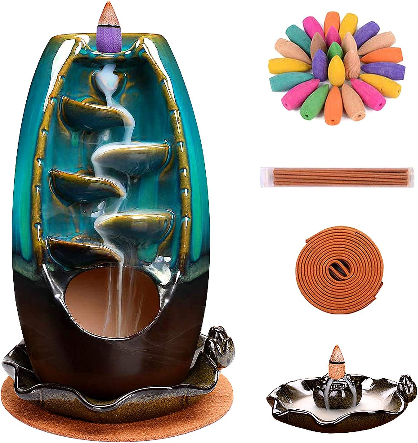 Incense Burner, Waterfall Incense Holder Ceramic Incense Burner Home Decor Aromatherapy Ornament with 120 Pcs Backflow Incense Cones, 30 Incense Stick, 20 Coil Incense, Cushion, Artificial Lotus Leaf