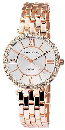 Reloj mujer plata rosado. Oro Analog brillantes números romanos metal Reloj de pulsera: Amazon.es: Relojes