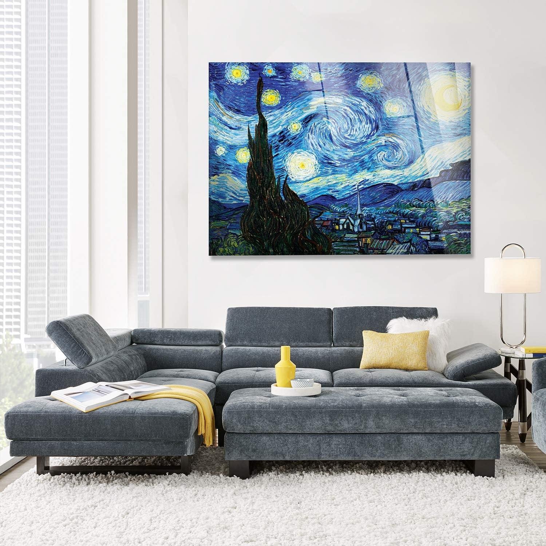 Notte STELLATA Vincent Van Gogh 50X70CM Cadre sur Verre Acrylique PLEXIGLASS Giallobus
