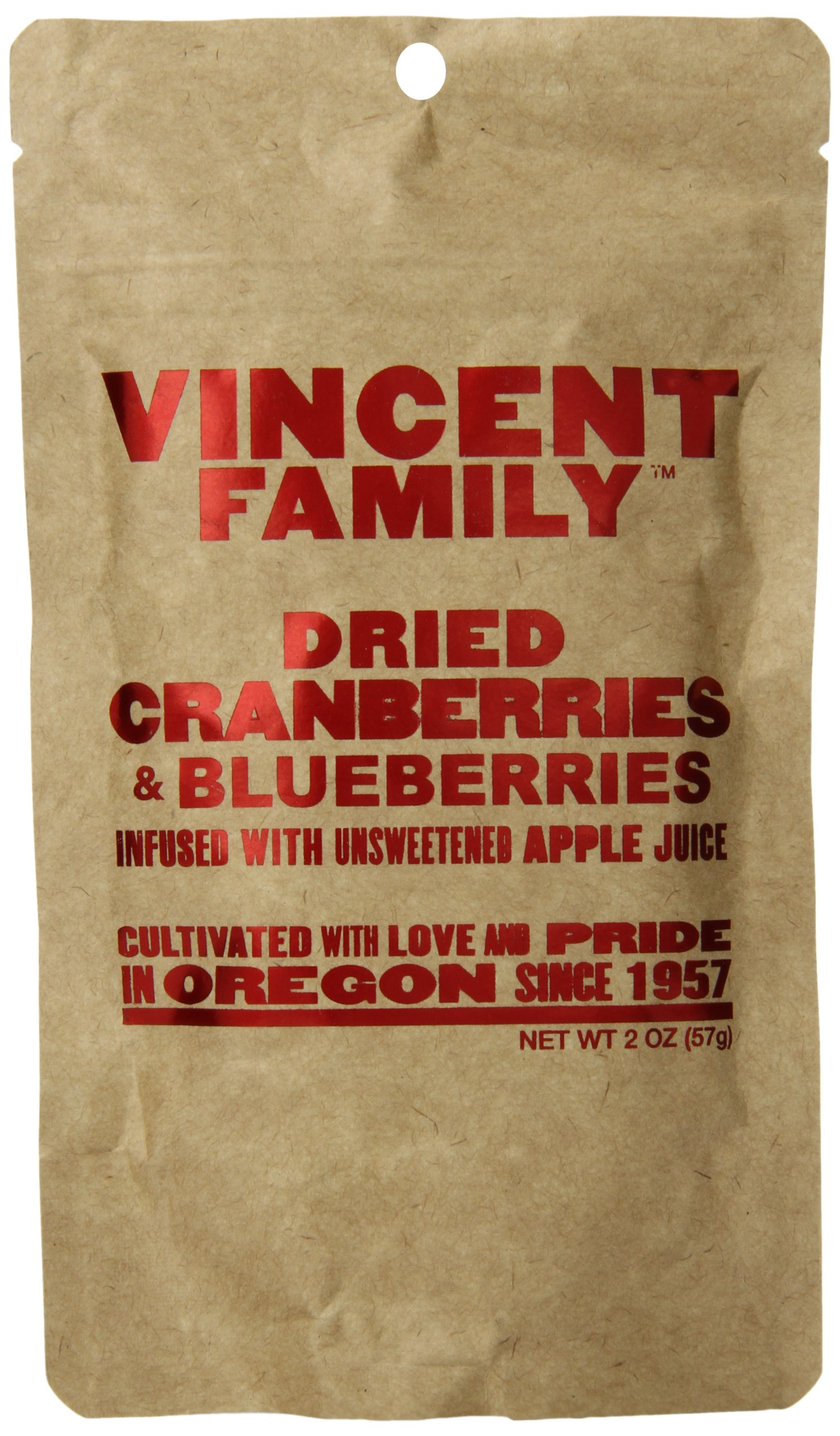 Vincent Family Dried Cranberries and Blueberries,2 Ounce