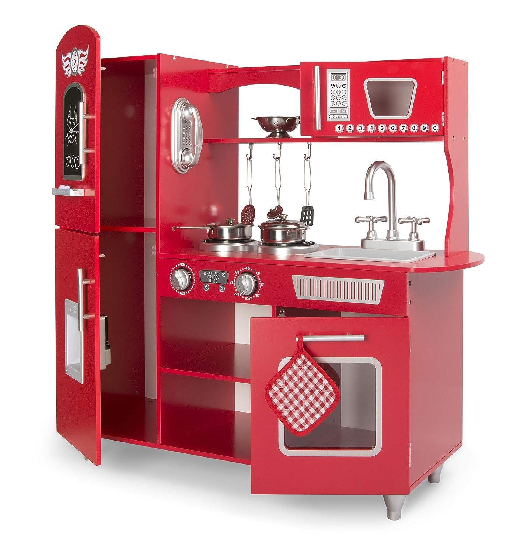 Leomark Grande Rojo Cocina Madera Infantil Cocina De Juguete Accesorios para Ni/ñas Cocinita Retro Grifo Fregadero Cubiertos De Madera Utensilios De Cocina Estilo Escandinavo Big Red