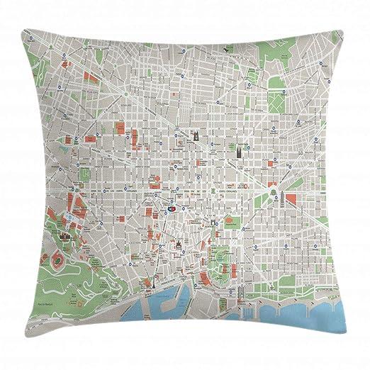 Ambesonne Mapa Manta Almohada Funda de cojín, Mapa de ...