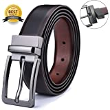 Men's Genuine Leather Dress Belt Reversible with Single Prong Rotated Buckle Gift Box (black2, Waist:36-43)