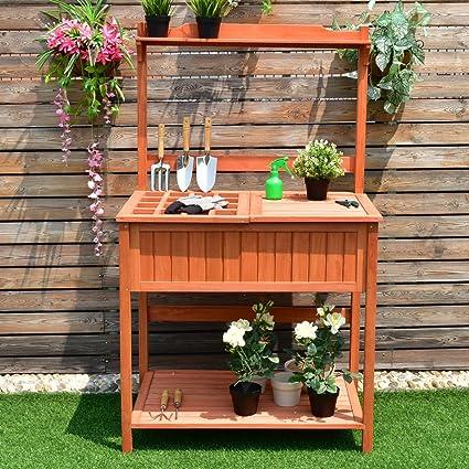 Item Ways Potting Work Station Table Bench Wood Garden Patio Deck Outdoor  Planting