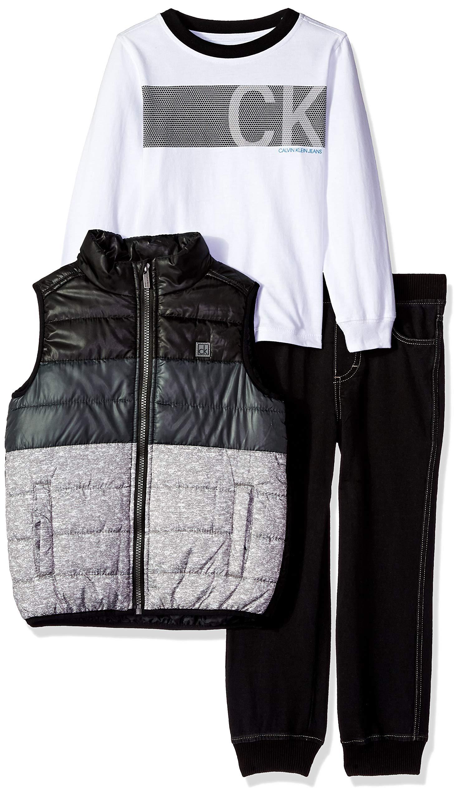 Calvin Klein Boys' Little 3 Pieces Vest Set-Denim Jogger, White/Gray/Black 7