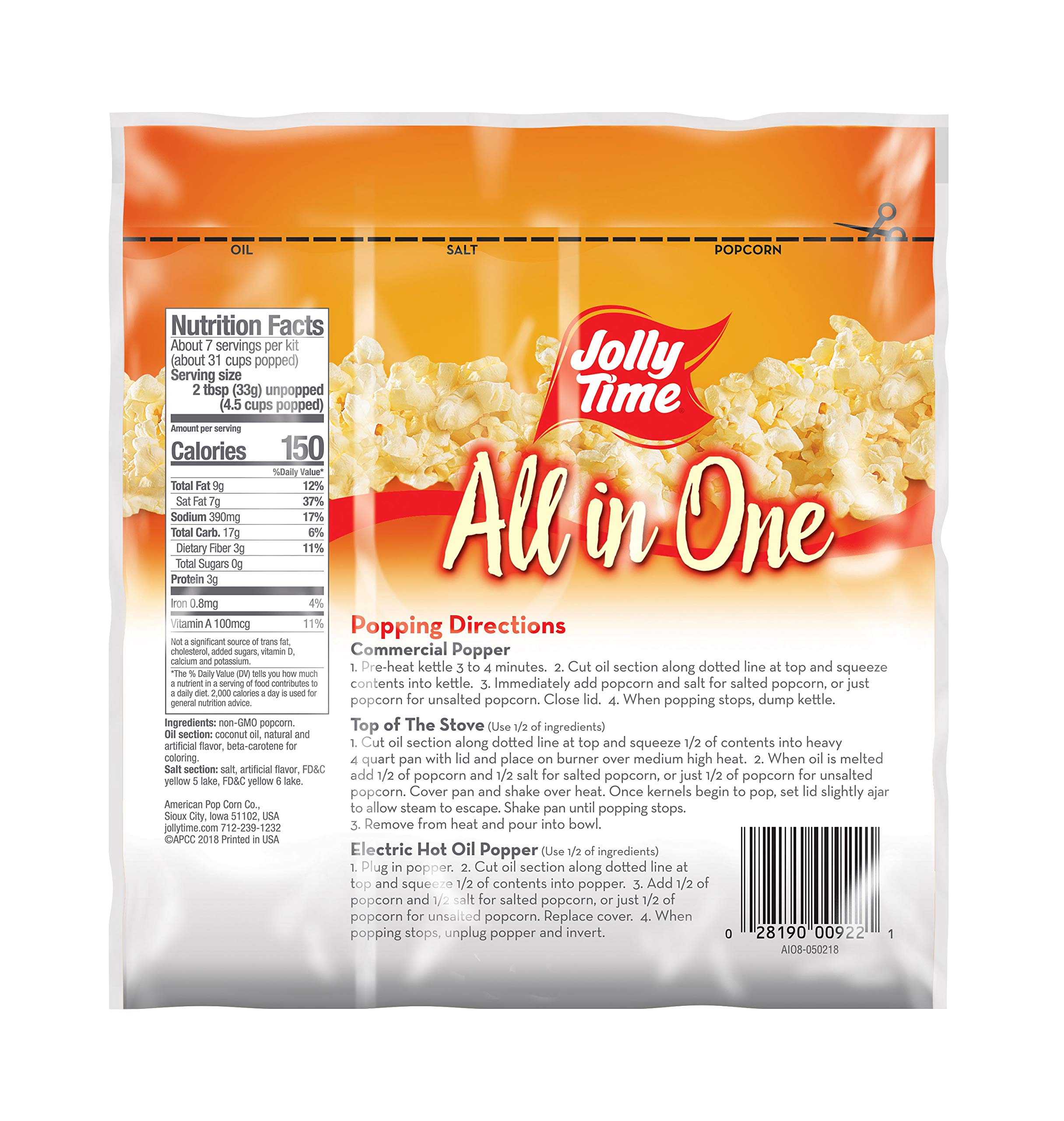 JOLLY TIME All in One Kit for 6 oz. Popcorn Machine | Portion Packet with Kernels, Oil and Salt for Commercial, Movie Theater or Air Popper (Net Wt. 8 oz. Each, Pack of 36) by Jolly Time (Image #3)