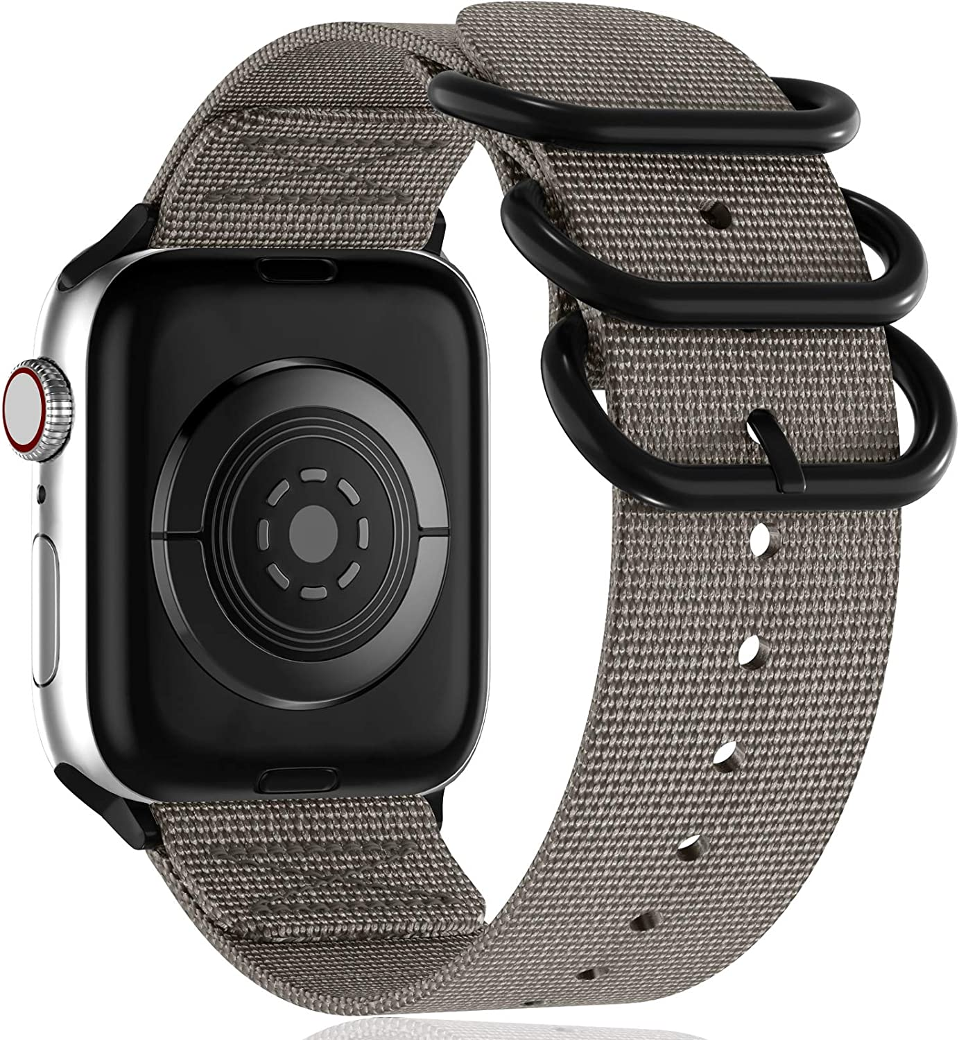 Muranne Compatible with Apple Watch Band 42mm 44mm, Classy Lightweight Washable Woven Nylon Strap with Military-Style Loop Adapters for iWatch SE Series 6 5 4 3 2 1 for Women Men, Gray, X-Large